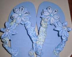 Chinelo patwork com flor