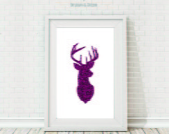 Poster Arte Digital - Pink Deer