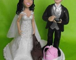 Topo de bolo casal bolsas