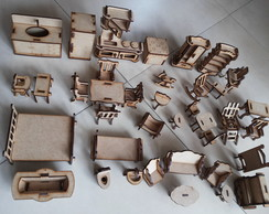 kit 38 m�veis mdf boneca polly