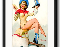 Quadro Pin Up Cowgirl com Paspatur