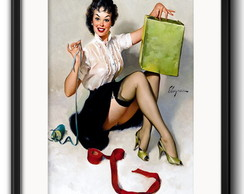 Quadro Pin Up Retro com Paspatur