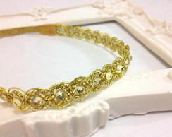 Headband ADULTO dourado com cristais