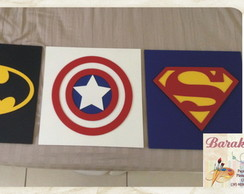 Trio de quadros Super-her�is