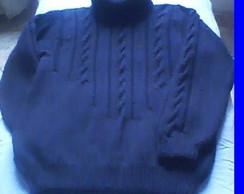Pullover Masculino Preto com tran�as