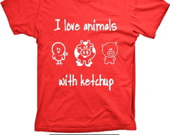 Camiseta I Love animals Algod�o