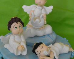 Topo de bolo  para Batizado 3 anjinhos