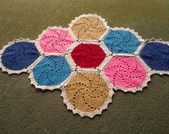 Tapete de croch� hexagonal colorido