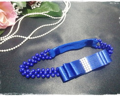 Headband de P�rolas Azul Royal
