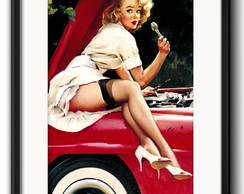 Quadro Pin Up Carro com Paspatur