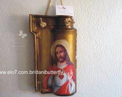 """Decoupage em Telha """"Cristo"""""""