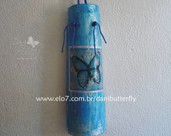 "Decoupage em Telha ""Borboleta Azul"""
