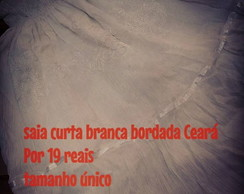 Saia curta bordada branca tipo do cear�