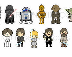Folha adesiva tags Star Wars