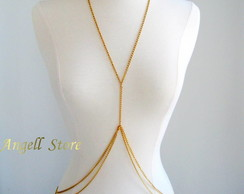 Body Chain Corrente Corpo Dourado Duplo