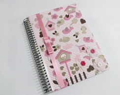 Caderno universit�rio decorado rosa