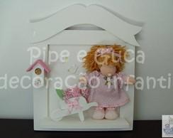 (MA 0056) Quadro boneca carrinho flores
