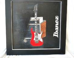 Quadro decorativo guitarra 37x37cm