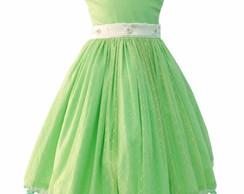 Vestido infantil verde e branco