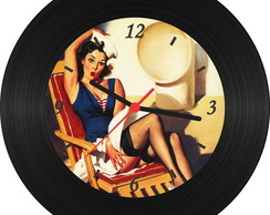Rel�gio de Vinil - Pin Up 002