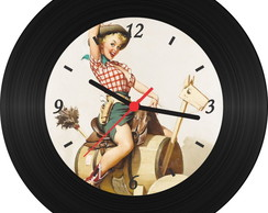 Rel�gio de Vinil - Pin Up 003