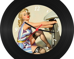 Rel�gio de Vinil - Pin Up 004
