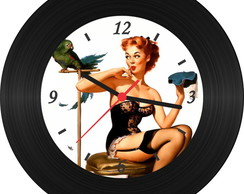 Rel�gio de Vinil - Pin Up 005