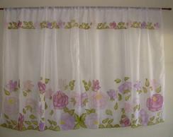 Cortina para sala/ quarto Rosas Violetas