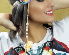 Headband Tran�ado e Flor Colorida