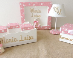 Kit Higiene Decorado Beb� Floral Rosa
