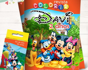 Kit Revista + Giz Turma do Mickey