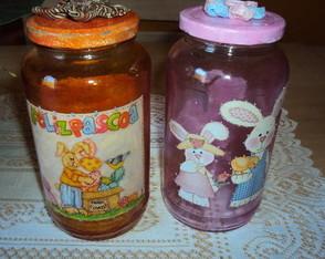 Vidros de p�scoa coloridos
