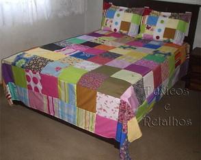 Colcha de Retalhos Coloridos Casal 03P�s