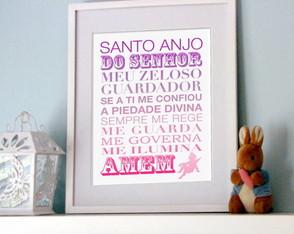 Poster Ora��o Santo Anjo do Senhor Rosa