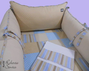 Kit ber�o-Patchwork bege e azul II-8 p�s