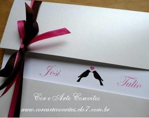Convite Marrom e Rosa com passarinhos
