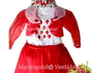 Vestido Moranguinho c/ bolero manga long