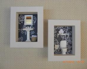 Dueto de quadros vitrines para lavabo