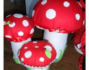 Trio cogumelo de pano