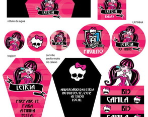 Kit Festa Monster High (30 Convites)