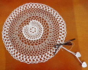Conjunto para mesa em crochet Cora��o