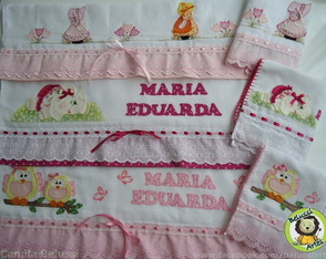 6 Fraldas Bordado Ingl�s + Patchwork