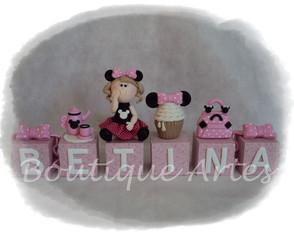 Topo de bolo cubos Minnie
