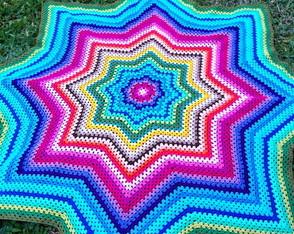 Colcha Estrela Colorida em crochet