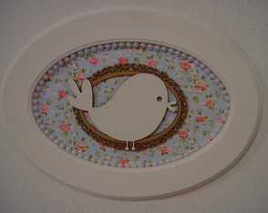 (MA 0168) Quadro oval flowers and birds