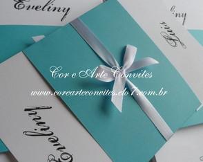Convite Noivado Azul e branco