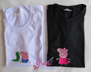 Camiseta Bordada Peppa