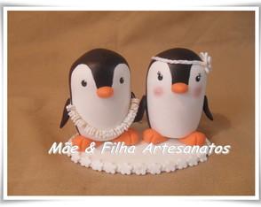 Noivinhos Casal Pinguim Havaiano