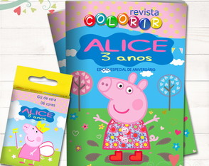 Kit Revista + Giz Peppa Pig