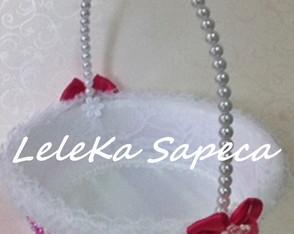 Cesta florista perola branca c/ pink